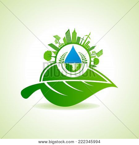 Eco Energy Concept with leaf,cityscape,water drop and earth stock vector