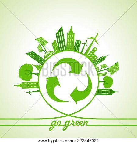 Eco Energy Concept with leaf,cityscape and and recycle icon stock vector