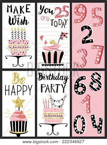 Happy Birthday Party cards set with cakes, cupcakes, toppers, candles and lettering text. Hand drawn illustrations.