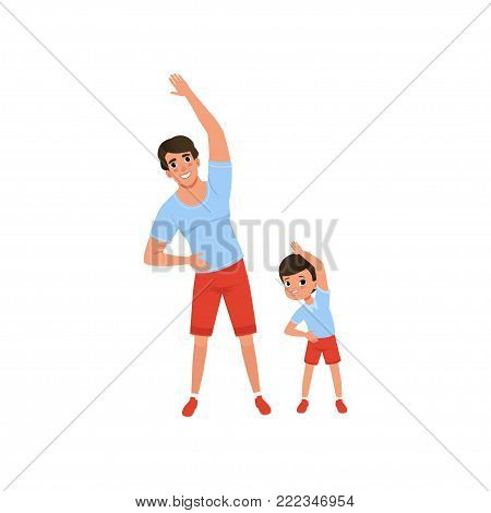 Dad and son doing morning exercises. Family sport. Man and boy dressed in red shorts and blue T-shirts. Having fun together. Fatherhood concept. Colorful flat vector illustration isolated on white. poster