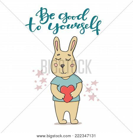 Be good to yourself greeting card with cute little bunny in t-shirt holding a heart, doodle vector illustration isolated on white background. Be good to yourself greeting card design with funny bunny