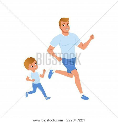 Cartoon father and son running together. Morning jogging. Sporty family. Fatherhood concept. Physical activity and healthy lifestyle. Colorful flat vector illustration isolated on white background.