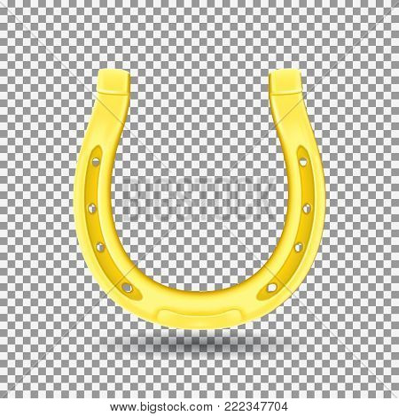 Golden Horseshoe Isolated on Transparent Backdrop. Realistic Good Luck Symbol. Vector Illustration with Icon of St. Patric's Day.