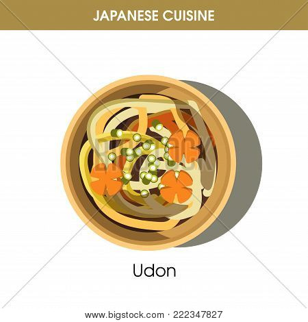 Nutritious Udon in deep bowl from traditional Japanese cuisine isolated cartoon flat vector illustration on white background. Tasty dish made of noodles from wheat flour and boiled vegetables.