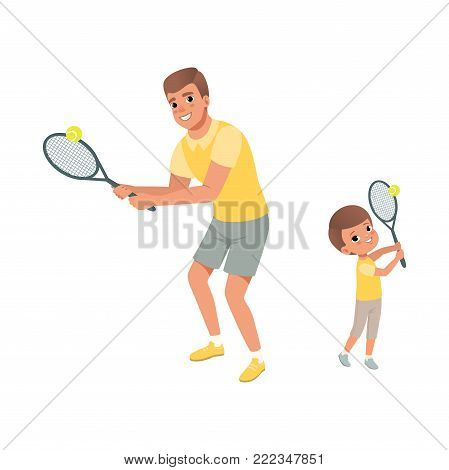 Cheerful dad and his son playing in tennis. Father and child dressed in shorts and t-shirts. Active sport. Fatherhood concept. Physical activity. Cartoon flat vector illustration isolated on white.