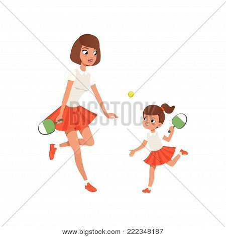 Cheerful mom and her daughter playing ping pong. Outdoor activity. Girl and her mother in sportswear. Sporty family. Motherhood concept. Cartoon flat vector illustration isolated on white background.