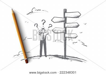 Businessman before choice concept. Hand drawn person had to make a decision. Man has to decide isolated vector illustration. poster
