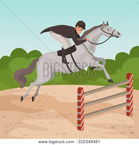 Smiling man jockey on gray horse jumping over hurdle. Cartoon male character in equestrian helmet, dark-colored coat and white pants. Nature landscape on background. Colorful flat vector design. poster