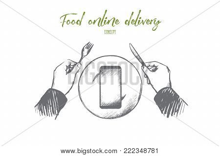 Food online delivery concept. Hand drawn person are going to order dinner in online service. Mobile phone on plate instead of food isolated vector illustration.