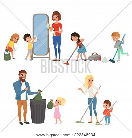 Set of children helping their parents with housework. Sweeping, vacuuming, washing floor, throwing out garbage, cleaning mirror. Cartoon kids characters. Colorful flat vector design isolated on white.