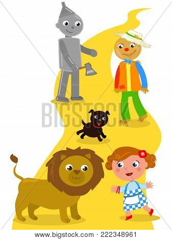 Wizard fairy tale. Little girl with her dog, the Scarecrow and the Tin Man meets the Lion.