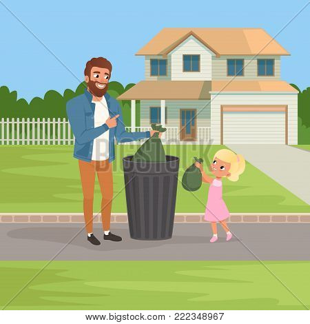 Little girl helping her father throwing out rubbish bags in garbage bin. Housework concept. Big two-storied house and green bushes on background. Cartoon vector illustration in modern flat style.