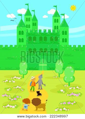 Wizard fairy tale. Little girl with her dog, the Scarecrow and the Tin Man arrived at the Emerald City
