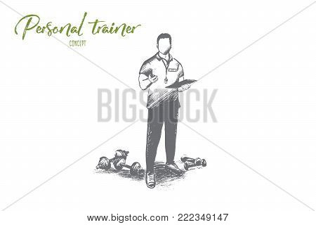 Personal trainer concept. Hand drawn professional fitness coach. Handsome male trainer with clipboard isolated vector illustration.