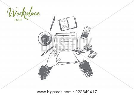 Workplace concept. Hand drawn top view of person writing in notepad placed on table. Desktop with a coffee cup, smartphone and other supplies isolated vector illustration.