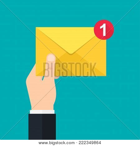 New, incoming message. Hand holds envelope. Delivery of messages, notification, sending messages vector illustration