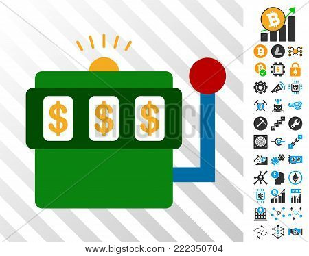 Casino Bandit playing cards pictograph with additional bitcoin mining and blockchain pictures. Flat vector icons for bitcoin software.