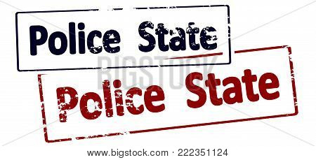 Rubber stamp with text police state inside, vector illustration