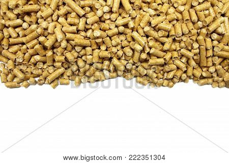 Compressed pine sawdust isolated on white background.
