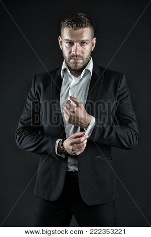 Modern life and agile business. Business and success. Manager with beard on confident face. Man in formal outfit on black background. Businessman or ceo fashion.