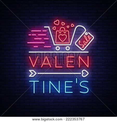 Valentine day sale neon sign. Vector illustration. Neon banner, light flyer, invitations, posters, brochures, banners. Bright advertising of discounts to the day of lovers.