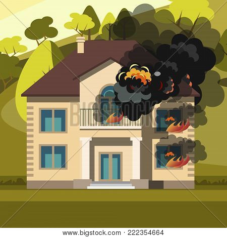 Blazing house burning with fire. Vector illustration