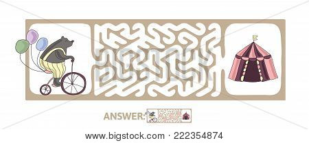 Children's maze with bear on a bike and circus tent. Cute puzzle game for kids, vector labyrinth illustration.