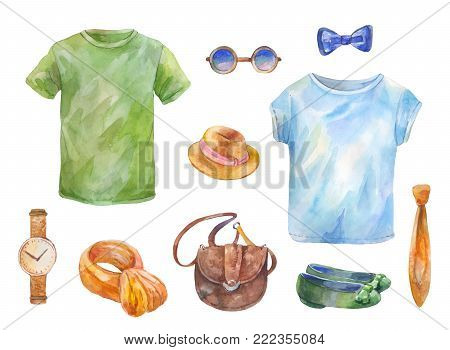 Watercolor set of clothes. Hand drawn T-shirts; bag; watch; glasses; hat; shoes; tie; scarf; bow tie