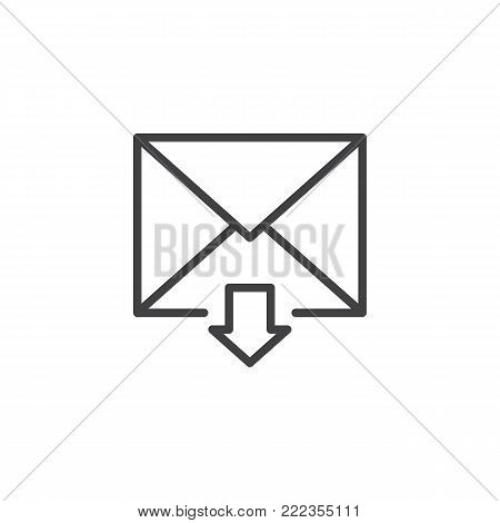 Incoming mail line icon, outline vector sign, linear style pictogram isolated on white. Inbox message symbol, logo illustration. Editable stroke