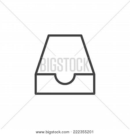 Mailbox inbox line icon, outline vector sign, linear style pictogram isolated on white. Mail box symbol, logo illustration. Editable stroke