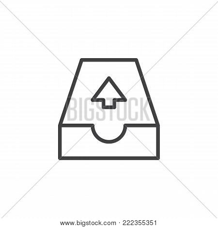 Email outbox line icon, outline vector sign, linear style pictogram isolated on white. Outgoing mail symbol, logo illustration. Editable stroke