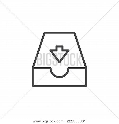 Incoming mailbox line icon, outline vector sign, linear style pictogram isolated on white. Email Inbox symbol, logo illustration. Editable stroke