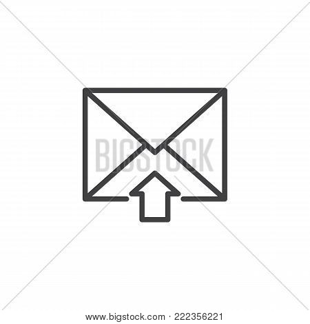 Postal envelope inbox line icon, outline vector sign, linear style pictogram isolated on white. Income mail symbol, logo illustration. Editable stroke
