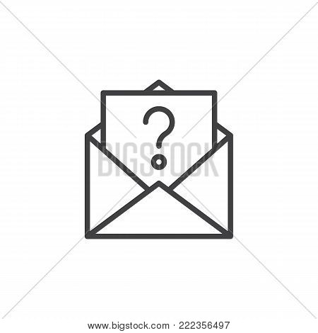 Unknown email line icon, outline vector sign, linear style pictogram isolated on white. Letter with question mark symbol, logo illustration. Editable stroke