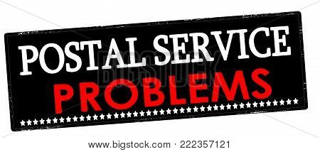 Rubber stamp with text postal service problems inside, vector illustration