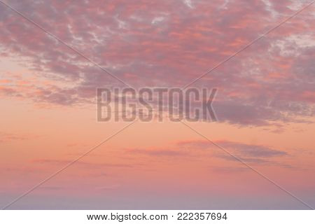Sunset Sunrise Sky Background. Natural Bright Dramatic Sky In Sunset Dawn Sunrise. Yellow And Pink Colors.