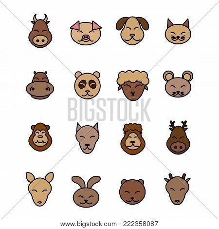 Different animals vector. Icons set brown pet. Pig, dog, cat, cow, mouse, sheep, panda hippopotamus deer lion wolf monkey bear rabbit kangaroo