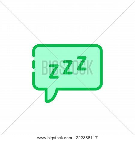 green cartoon speech bubble with zzz logo. simple flat style trend modern logotype graphic art design isolated on white background. concept of snoring chat sticker and popup message like resting