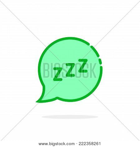 zzz logo like green cartoon speech bubble. concept of snoring chat sticker and popup resting message. simple flat style trend modern logotype graphic art design isolated on white background