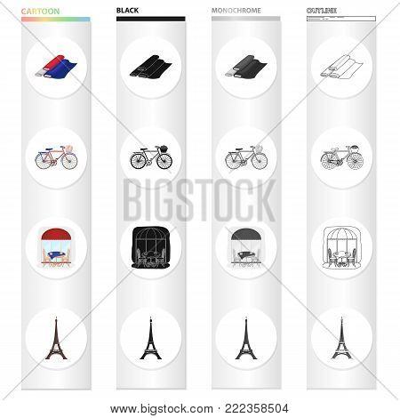 Rolls of fabric, tricolor, bicycle, French cafe, Eiffel Tower. France set collection icons in cartoon black monochrome outline style vector symbol stock illustration .