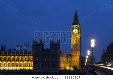 LONDON - MAY 29: Big Ben and Houses of Parliament on the River Thames in London on May 29, 2011. The bell in Big Ben is 2.28 meters tall (7 feet six inches) and 2.75 meters wide (9 feet).