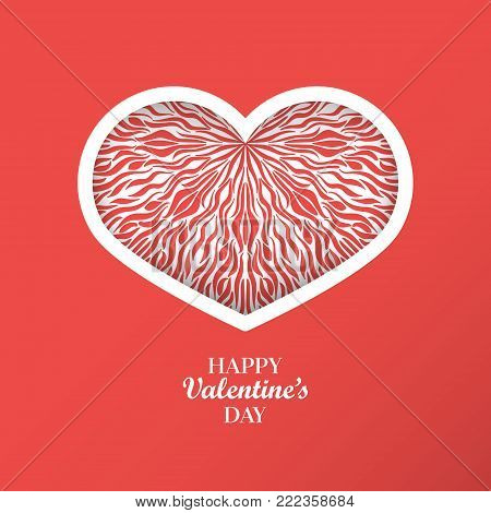 Valentine's Day Concept Background With Origami Heart Shaped Frame. 3D Paper Art Heart With Wave Pat