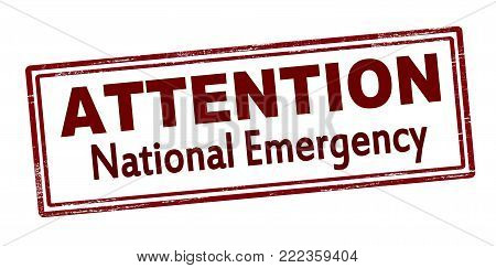 Rubber stamp with text attention national emergency inside, vector illustration