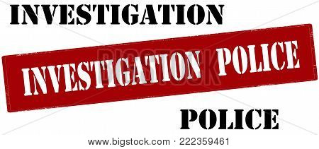Rubber stamp with text investigation police inside, vector illustration