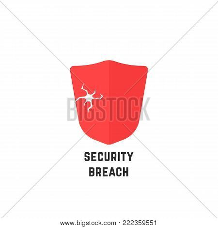 security breach with red abstract shield. simple flat style trend modern logotype graphic design isolated on white background. concept of danger of access violation or hacking of private server