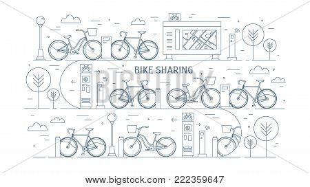 Rental bikes parked at docking stations on city street, electronic payment terminals, map stand and trees. Concept of public bicycle sharing or rent. Monochrome vector illustration in line art style