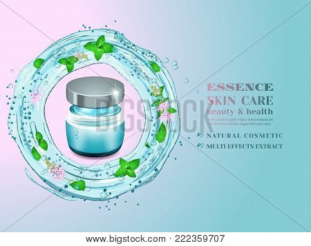 Glass cosmetic bottle and splash of blue water with green leaves and flowers.Advertising cosmetic cream with herbal extract.Design natural cosmetic product, 3d vector illustration.
