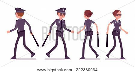 Young officers walking, policeman and policewoman, members of police force patrolling neighborhoods. Law and justice concept. Vector flat style cartoon illustration isolated on white background