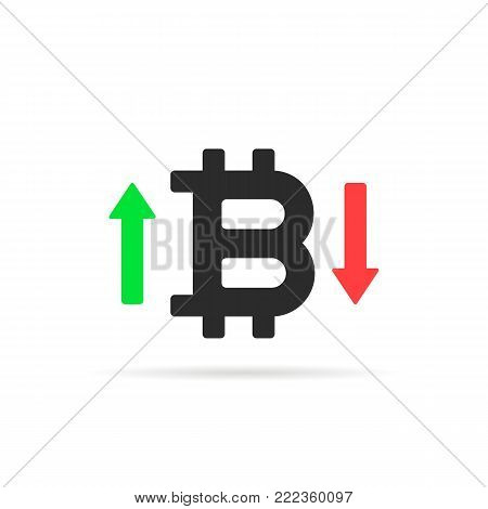 bitcoin rates icon isolated on white. simple flat style trendy modern logotype graphic design. concept of bit coin badge transaction or future forecast of purchase index or trade strategy