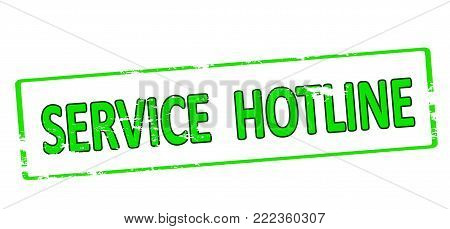 Rubber stamp with text service hotline inside, vector illustration